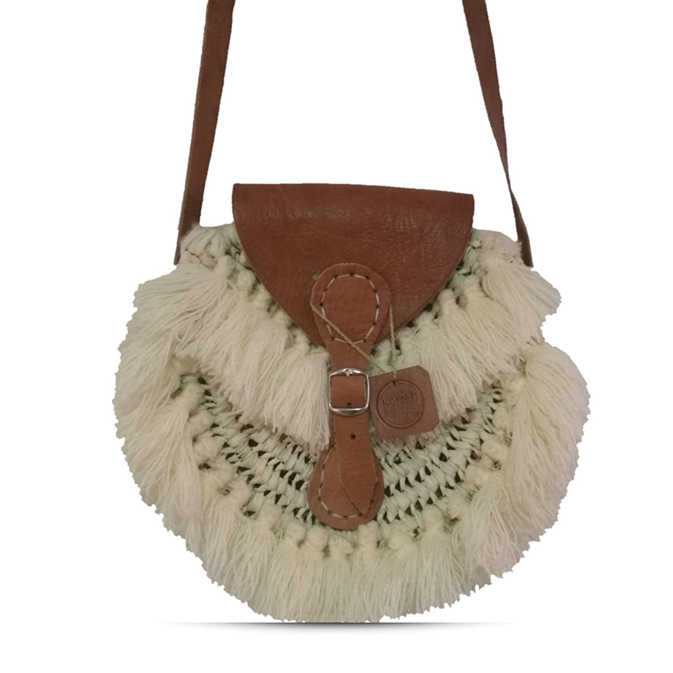 Moroccan Straw Shoulder Tote Handmade Round Bag with Tassels Personnalized