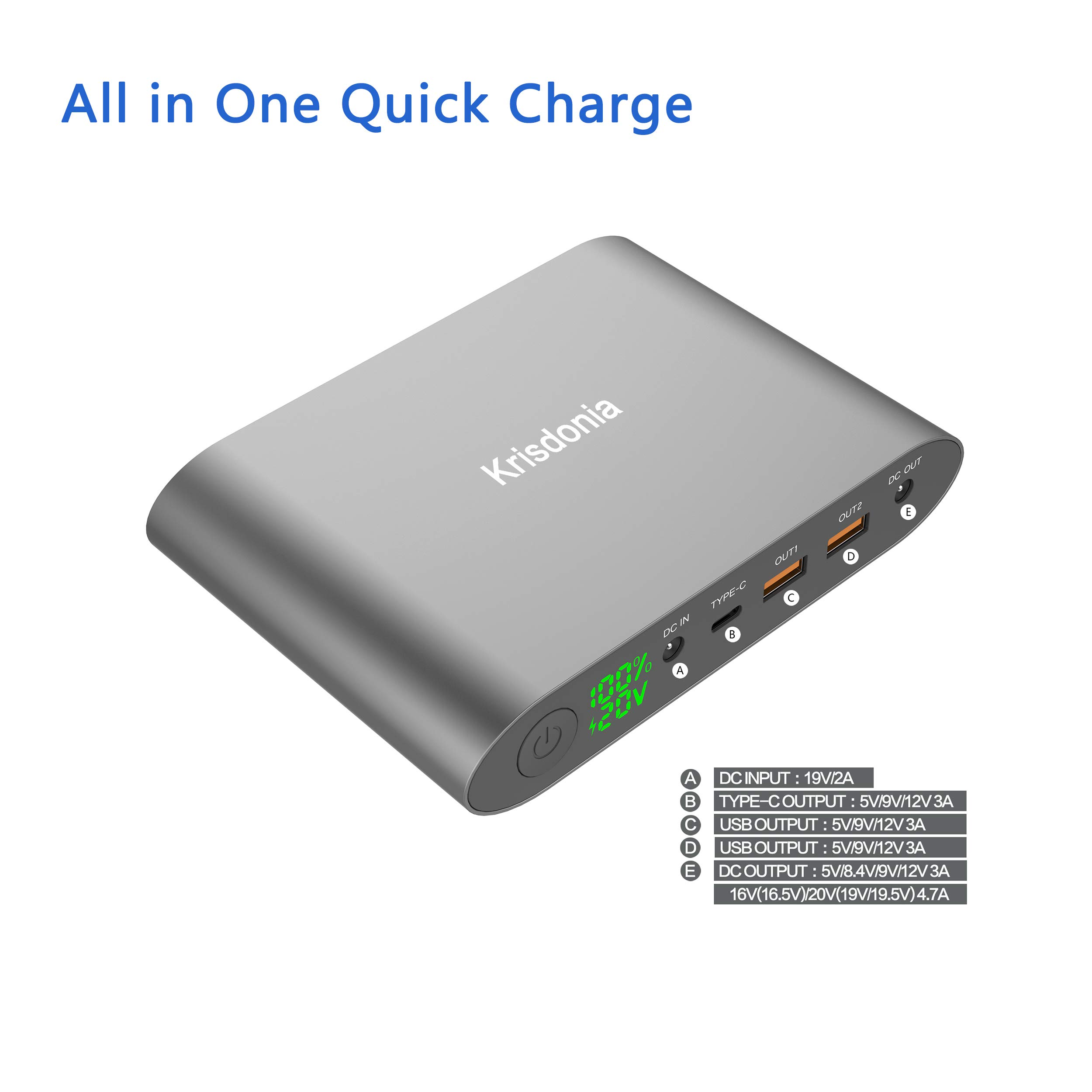 Krisdonia 25000mah Power Bank Batería Externa Cargador Portátil ...
