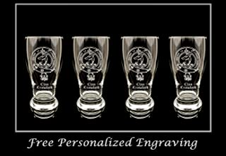 Clan Crawford Scottish Crest Pint Glass Set of 4- Free Personalized Engraving, Family Crest, Pub Glass, Beer Glass, Custom Beer Glass