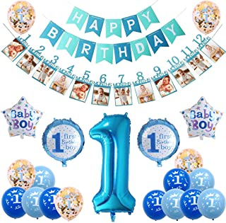 1st Birthday Boy Decorations, Baby Boy First Birthday Decorations, Birthday Decoration Supplies Set - Happy Birthday Party Banner, Photo Banner, Foil and Latex Balloons (Blue)