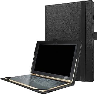 Asng Yoga Book ケース Lenovo Yoga Book 10.1インチ 専用保護カバー 超薄型 最軽量 スタンド機能付き 耐衝撃 内包型 PUレザーカバー (ブラック)