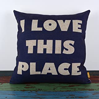 Anskere - Cotton Linen Square Fashion Throw Pillow Case Shell Decorative Cushion Cover 18-Inch I Love This Place Blue