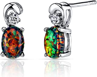 Peora Created Black Fire Opal Earrings Studs in Sterling Silver, Dainty Solitaire, Oval Shape, 7x5mm, 1 Carat total, Friction Backs