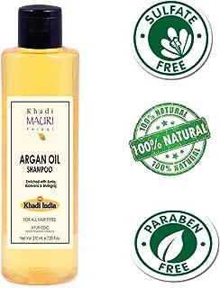 Khadi Mauri Herbal Argan Oil Shampoo - SLES & PARABEN FREE - Anti Hairfall + Boosts Hair Growth & Thickness - Enriched with Amla, Bhringraj & Aloe Vera - 210 ml