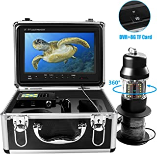 Underwater Ice Fishing Camera 360° Rotating View Waterproof Video Camera and 38 Infrared LEDs 9 inch 1000HD TVL with DVR Fish Finder for Ice, Lake and Boat Fishing (30M)