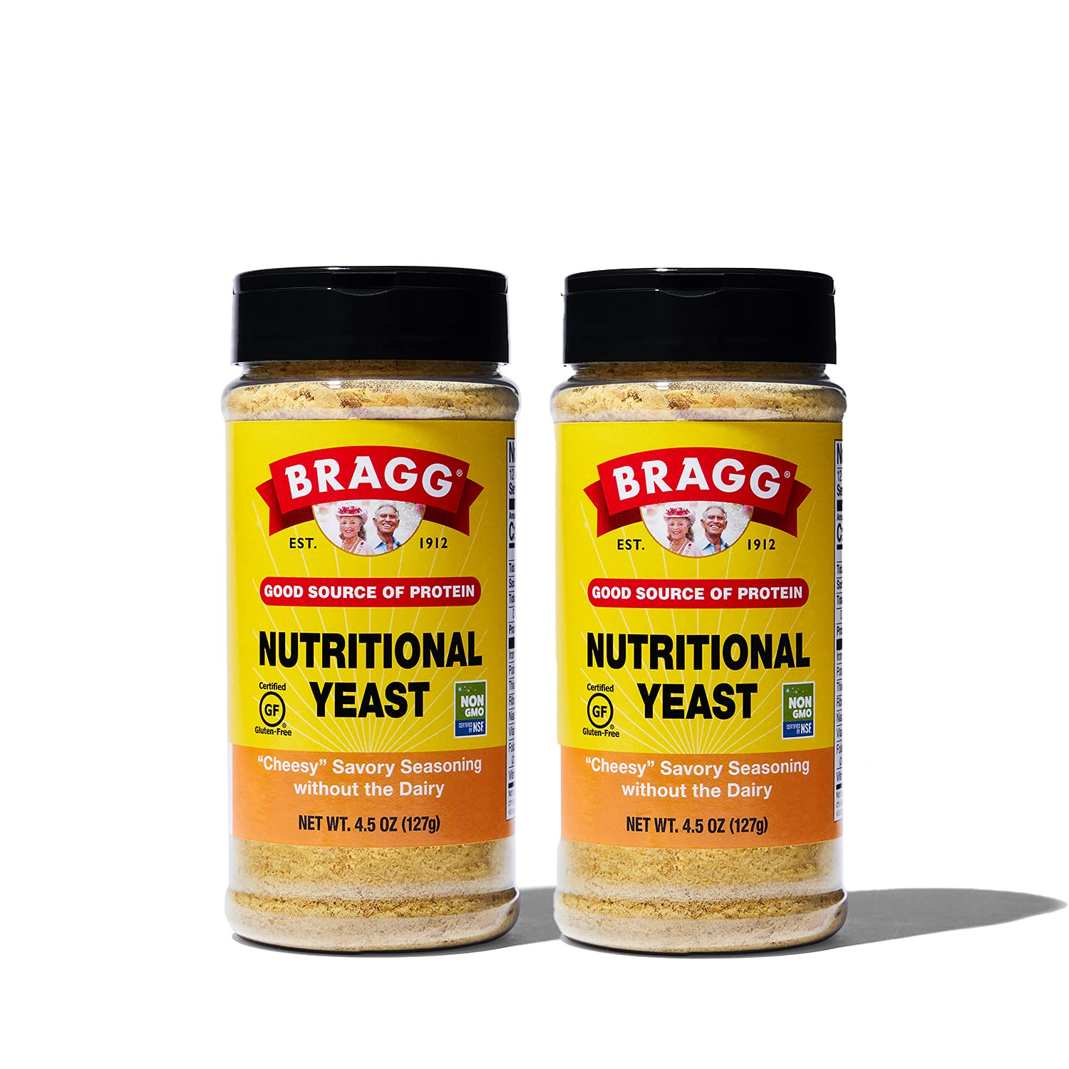Bragg Nutritional Yeast Seasoning – Vegan, Gluten Free Cheese Flakes – Good Source of Protein & Vitamins – Nutritious Savory Parmesan Cheese Substitute – Non GMO Verified, 4.5 ounce, 2 Pack
