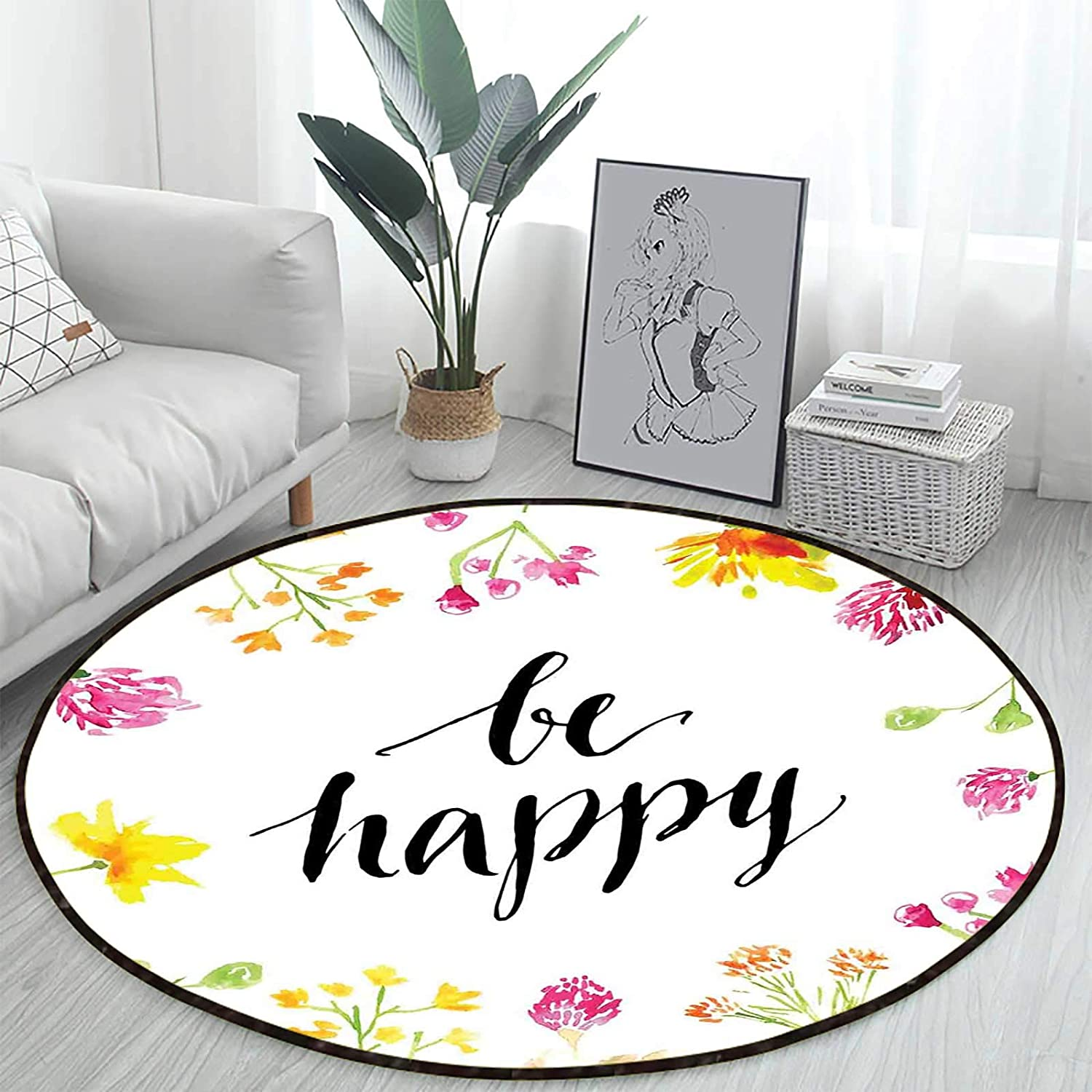 Positive Vibes Be Happy Ranking TOP12 free Coffee Table Rug Beach Mats Round M Yoga