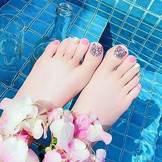 Dongcrystal 24 PCS Pink False Toenail Fake Nail for Toes Flower Full Cover Nail Tips Short Square Toenail
