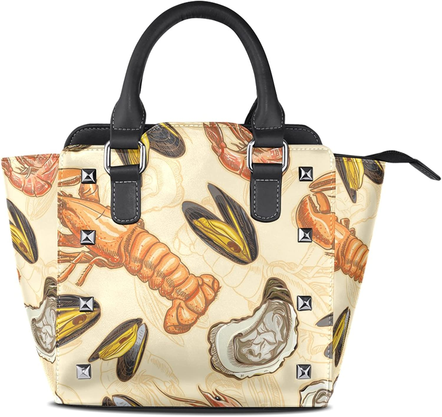 Sunlome Seafood Shrimp Scallop Print Handbags Women's PU Leather Top-Handle Shoulder Bags