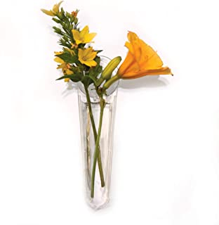 Gadjit Vinyl Window Vases Mini Single Style (Pack of 2) - Vase are Vinyl Not Glass, Suctions to Windows and Mirrors, Holds Flower Stem and Water, Clear Flexible Vinyl