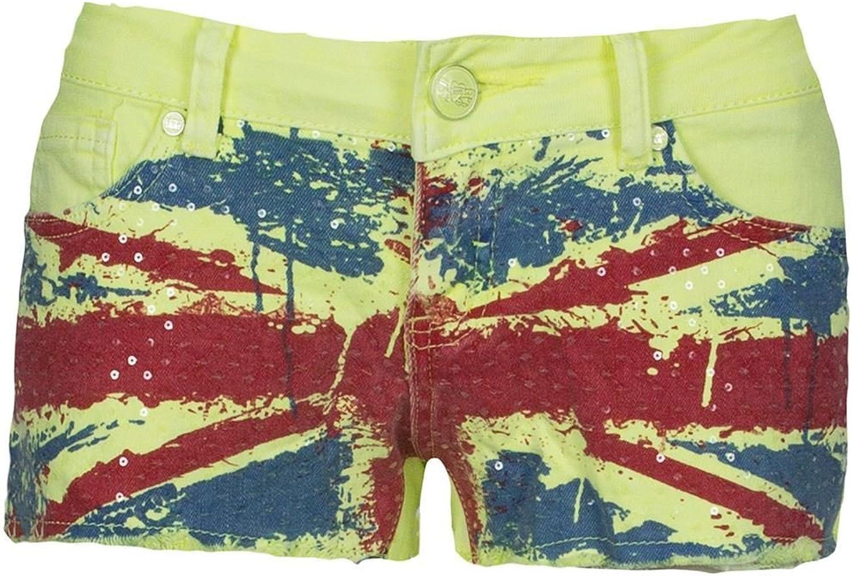 Be Jealous Womens Raw Edges Hot Pants Diamante Stud American UK USA Flag Shorts