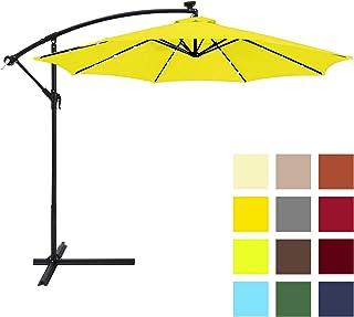 Best Choice Products 10ft Solar LED Offset Patio Umbrella w/Easy Tilt Adjustment - Yellow