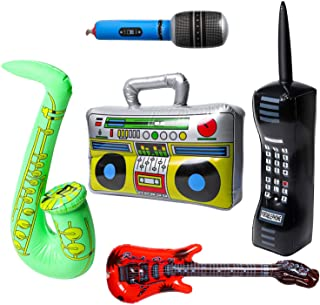 WATINC 5Pcs Inflatable Rock Star Toy Set, Inflatable Boom Box Mobile Phone Guitar Party Props for 80's 90's Party Decorati...
