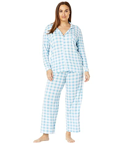 Kickee Pants Plus Size Collared Pajama Set (Blue Moon 2020 Holiday Plaid) Women