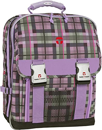 Take IT Easy Schulrucksack London Plaid Lila Schotten