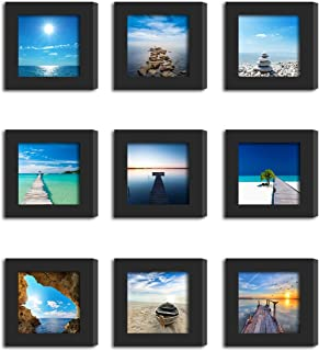 9Pcs 4x4 Real Glass Wood Frame Black, Fit Family Image Pictures Photo (Window 3.6x3.6 inch), Desktop Stand On Wall Family Combine Square Sea Beach Landscape Motivational Decoration (10 Set Pictures)
