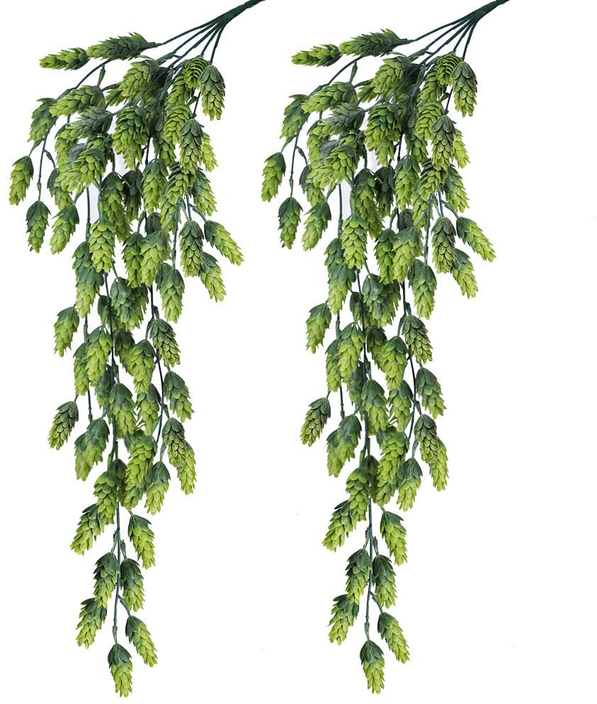 Supla 2 PCS Artificial Hops Flower Vine Garland Plant Fake Hanging Vine Hops Faux hops Artificial Hanging Plants in Frosted Green Each 29.5
