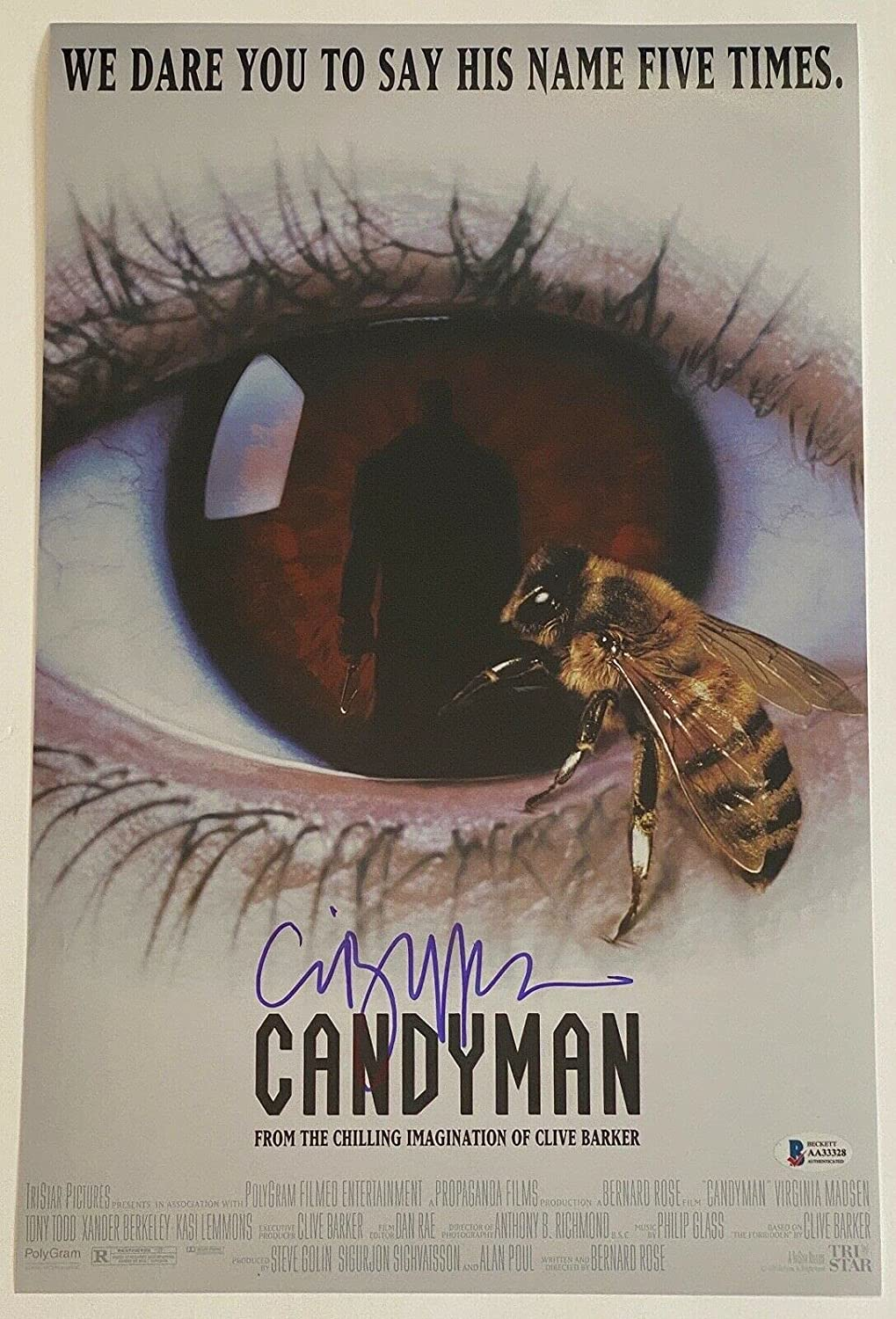 Max 82% shipfree OFF Clive Barker Signed Autographed Candyman 11x17 Horr Movie Poster