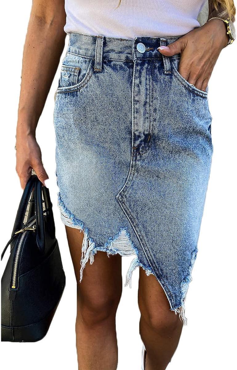 Gibol Women's Irregular Hem Denim Skirts Casual Mid Waisted Washed Frayed Pockets Jean Short Skirt