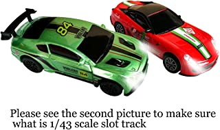 Jfbrix 2 Pack 1/43 Scale Slot Racing Cars with Headlights, Only Compatible with 1/43 Scale Slot Racing Track(Make Sure it Will Fit Before You Purchase)