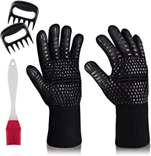 MSDADA BBQ Grill Gloves,932°F Oven Gloves Heat Resistant Cooking Mitts, BBQ Grilling Cooking Gloves, Cut Resistant and For...
