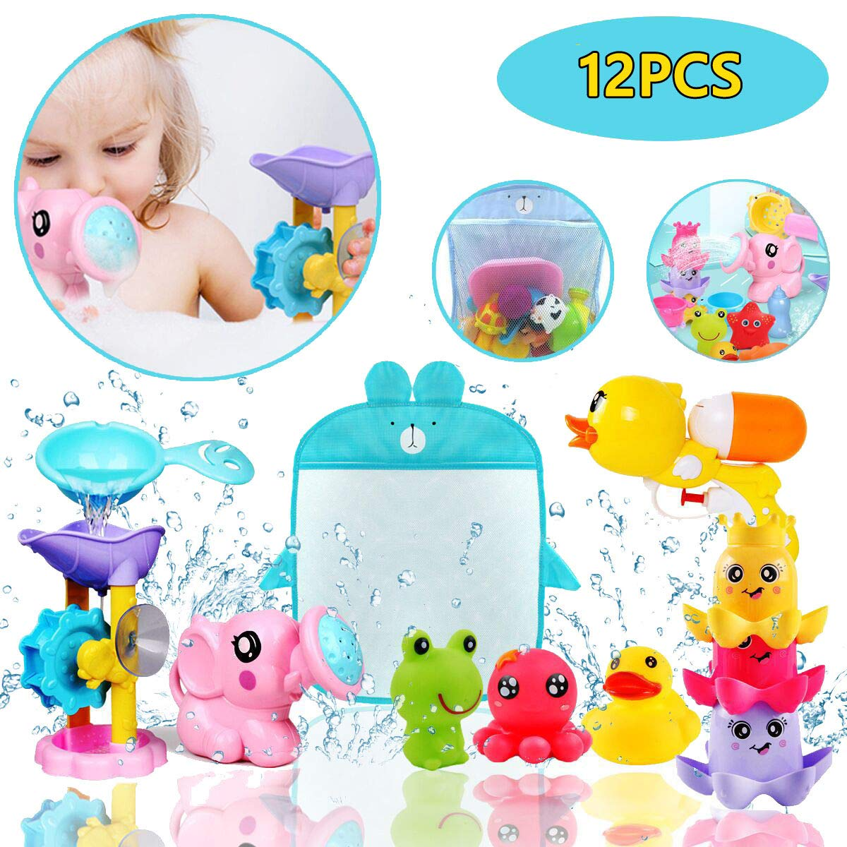 ZHENDUO 12 PCs Baby Bath Toys Set, Squirt Toy, Stacking Cups, Watering Can, Bath Toy Storage Organiser Baby Toys for Kids Bath Toys Birthday Gift for Toddlers Bathtub Toys Swimming Pool Toys
