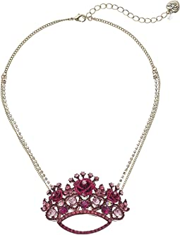 Betsey Johnson - Pink and Gold Crown Pendant Necklace