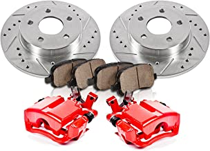 CCK12490 REAR [2] 270 mm Rotors + Powder Coated Red [2] Calipers + Quiet Low Dust [4] Ceramic Pads Performance Kit