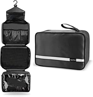 Maxchange Hanging Toiletry Bag | Compact Travel Toiletry Bag for Men/Women | Foldable Mens Hygiene Bag with 4 Compartments| Waterproof Travel Bathroom Bag.(Black)