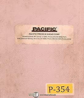 Pacific J Series, Press Brakes Operations Install and Maintenance Manual