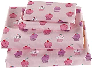 Luxury Linen Collection 4 Piece Printed Sheet with Pillowcases Cupcake Kids/Girls/Teens (Full)