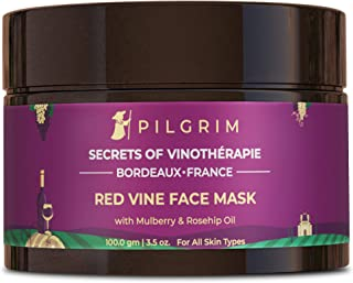 Pilgrim Anti Ageing Red Vine Face Pack & Mask with Mulberry Extracts & Rosehip Oil for Glowing Skin, De-Tan, Dark Spots, B...