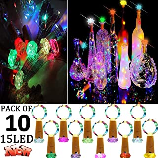 Bottle Lights with Cork, 10 Pack 15 LED Flashing Cork Diamond Lights Battery Operated Fairy Light Cork Silver Wire Lamp Wine String Light for DIY Party Birth Xmas Wedding Table Decor (Multi Color)