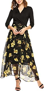 ANGVNS Women 3/4 Sleeve Patchwork Floral Print Chiffon Casual Maxi Dress with Belt