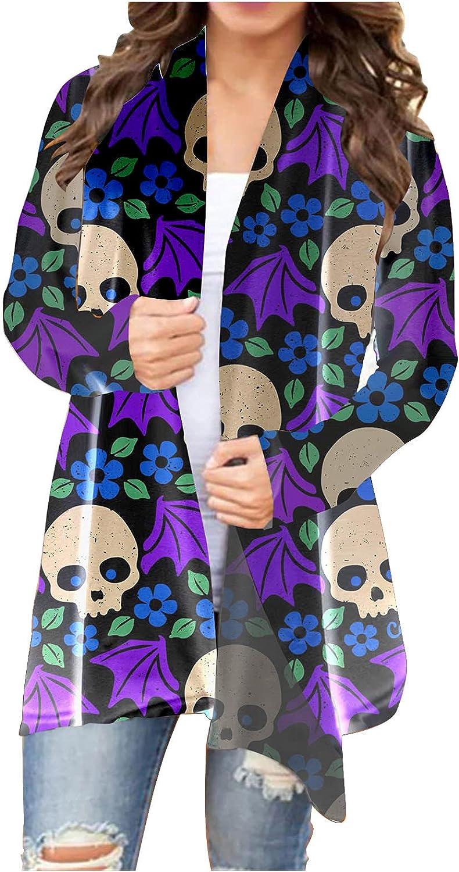 Cardigan Sweaters Women's Halloween Long Sleeve Open Front Cardigan Funny Cute Pumpkin Coat Top