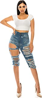 Aphrodite Ripped Bermuda Shorts Jeans - Women's Ripped Destroyed Distressed Fashion Denim Short Pants