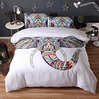 Duvet Cover King Size Elephant Pattern Bedding Set for Adults 3 Pieces Microfiber Duvet Cover with Zipper Closure and 2 Pillowcases 220 * 240cm Black,White