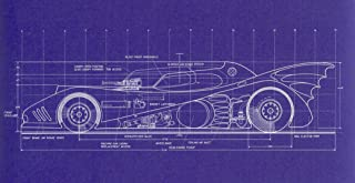 NewBrightBase Blueprint - Batman 1989 Batmobile top View Fabric Cloth Rolled Wall Poster Print - Size: (47