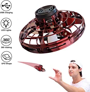 URMAGIC FlyNova Flying Toy, Handheld Operated Drones for Kids Adults,Outdoor Indoor Hands Mini Drone Helicopter with 360° Rotating and Shinning LED Lights,Surprises Gift for Boy Girl(Red)
