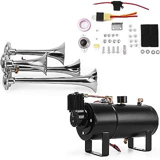 Bestauto Loud 4 Quad Trumpet Train Sound Air Horn Full System Kit 1 Gal Tank Compressor