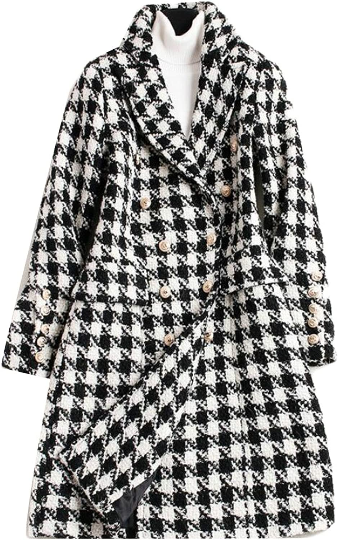 GAGA Women's Classic Houndstooth Print Lapel Double Pocket Pea Coat Overcoat