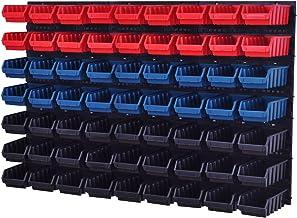 Wandrek Opslag Plank Gereedschapswand Stapelboxen Wandpaneel Workshop Magazijn + 63 kuvetten 117 x 210 x 75 mm (Rood/Blau...
