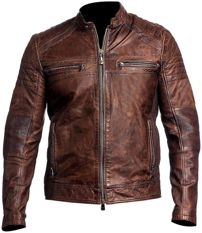 Mens Cafe Racer Retro Motorcycle Vintage Distressed Biker Leather Jacket