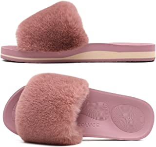COFACE Womens Sliders Plush House Slippers Flat Sandals for Women Memory Foam Fuzzy Open Toe Slippers with Arch Support An...