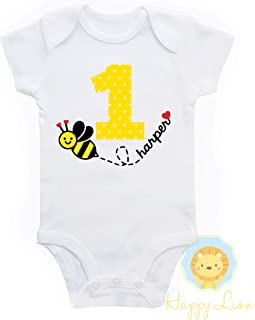 Happy Lion Clothing - Bumble Bee first 1st Birthday outfit, personalized custom girls Bee Birthday shirt