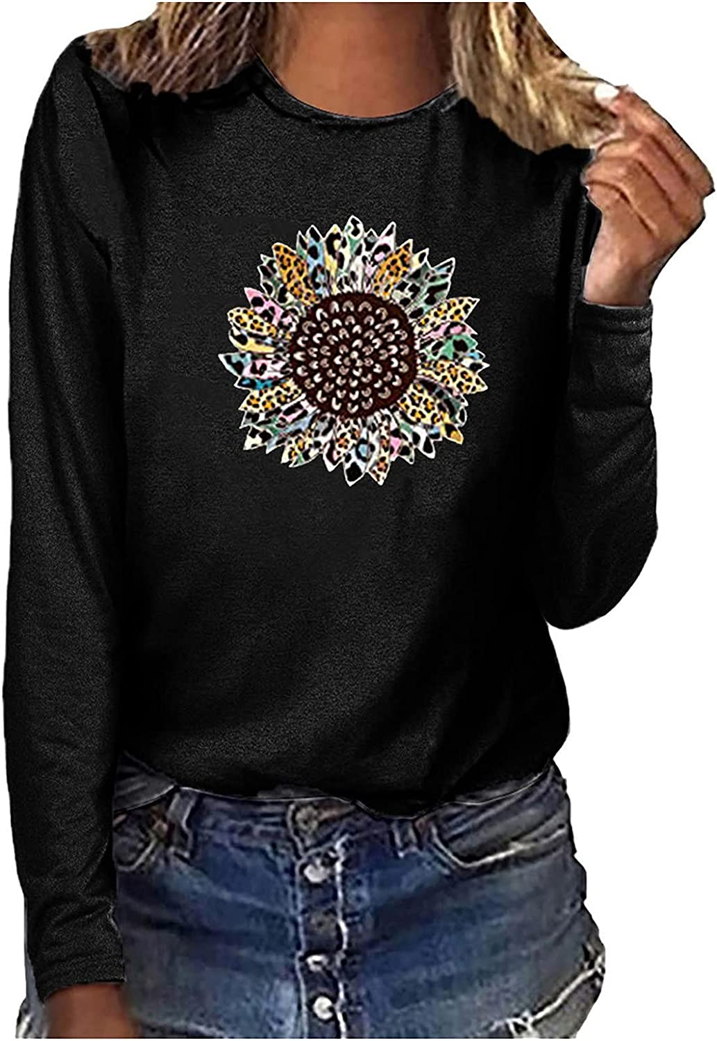 Auwer Women's Comfy Sunflower Print Tops Loose Long Sleeve T-Shirts Casual Crew Neck Flowy Tunics Comfy Breathable Blouses