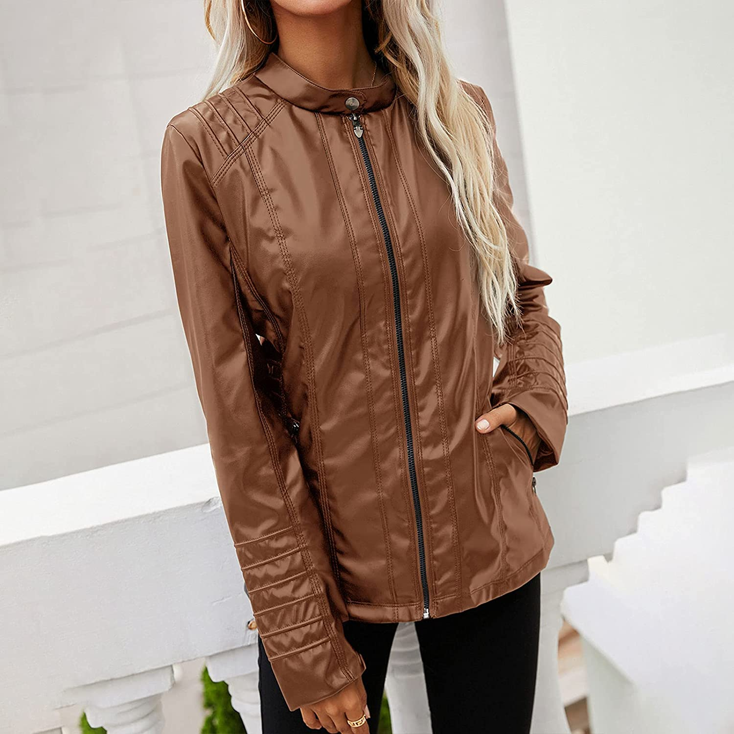 CAICAIL Women's Faux Leather Jackets, Autumn and Winter Zip Up Motorcycle Short PU Moto Biker Outwear Fitted Slim Coats