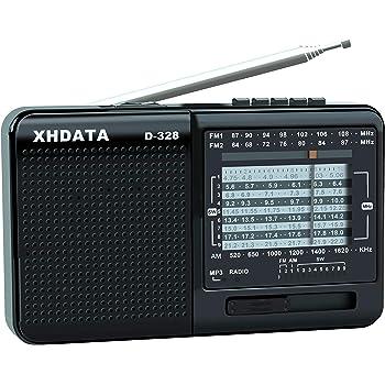 XHDATA D-328 FM/MW/SW 3バンドポータブルラジオ充電式、イヤホンジャック付きステレオラジオ、USB/マイクロSDカード付きポータブルマルチメディアスピーカー(ブラック)