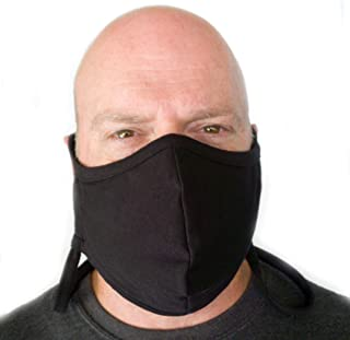 Buttonsmith Black Extra Large Adult Cotton Adjustable Face Mask with Filter Pocket - Quantity 1 - Adult XL - Two Layer Soft T-Shirt Material - Washable - Made in The USA