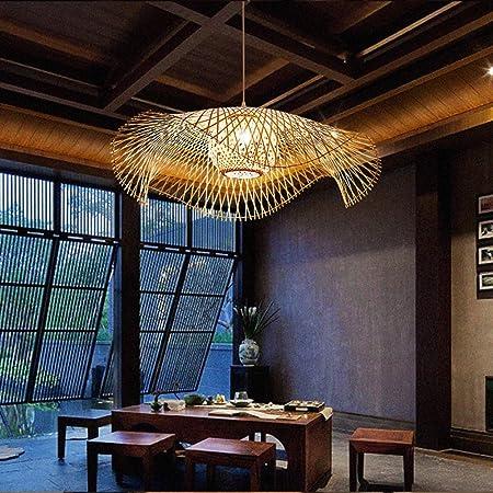 Suspension En Bambou Naturel Tissé Rétro Pays Lampe Suspendue Tissée À La Main E27 Suspension Villa Couloir Salon Éclairage Lustre Lumière Décorative,55cm